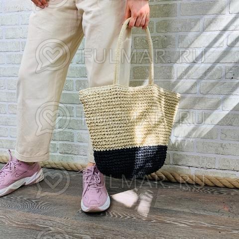 Большая сумка-шопер соломенная плетёная на молнии летняя женская (цвет: молочный-чёрный)