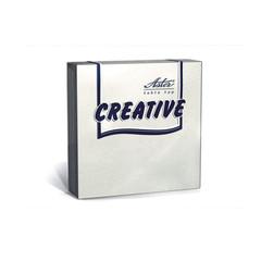 Салфетки бумажные Aster Creative 24x24 см белые 3-слойные 20 штук в упаковке