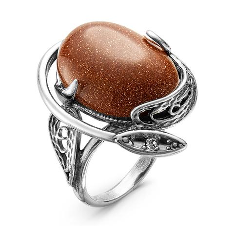 Кольцо с авантюрином и серебрением
