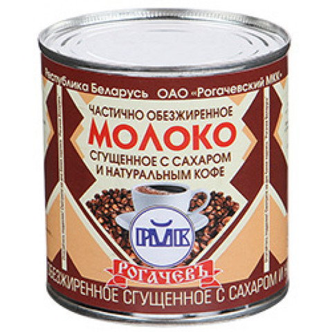 Молоко сгущенное с сахаром и натуральным кофе 7% 380г. ж/б Рогачёв