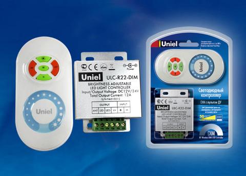ULC-R22-DIM White Контроллер для управления яркостью одноцветных светодиодных источников света с пультом с ДУ. Цвет пульта белый. Упаковка — блистер.