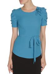 WP6502F-6 блузка женская, голубая