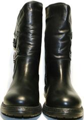 Полусапожки на низком ходу женские зимние кожаные черные на меху Tucino