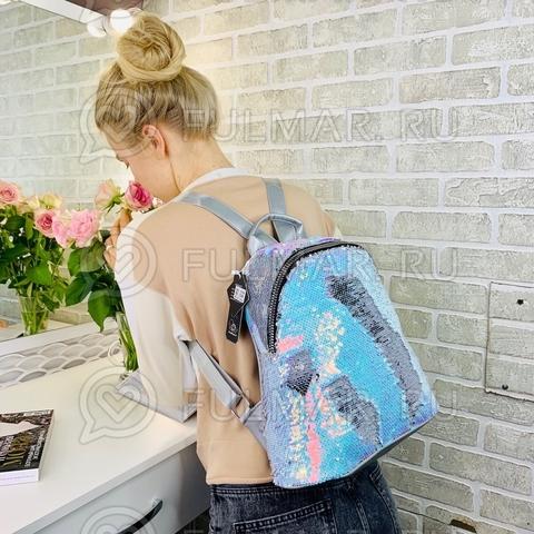 Большой школьный рюкзак для девочки в пайетках  Голубой хамелеон-Зеркальный