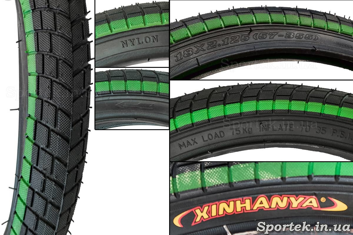Написи на велосипедної покришці 18 х 2,125 дюйма (57-355 ISO) Xinhanya (Китай)