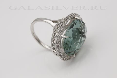Кольцо с празеолитом и фианитом из серебра 925