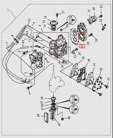 Прокладка головки блока цилиндров для лодочного мотора T9.8 Sea-PRO (2-25)