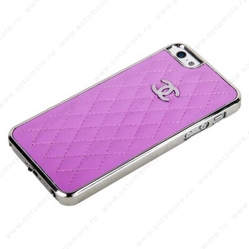 Накладка CHANEL для iPhone SE/ 5s/ 5C/ 5 серебряная+розовая кожа