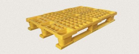 Поддон полимерный перфорированный 1200x800x160 мм с полозьями, усиленный металлическим профилем. Цвет: Желтый