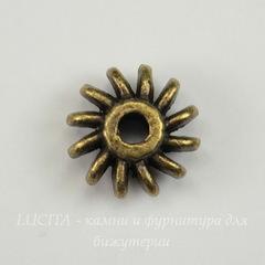 Бусина металлическая - рондель 12х6 мм (цвет - античная бронза)