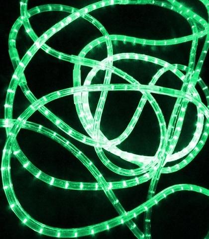 LED Дюралайт, двухжильный, круглый 13 мм, Зеленый, 36 LED/м, кратность резки 1 метр