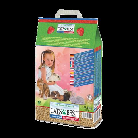 Cat's Best Universal Наполнитель для кошачьего туалета древесный впитывающий Клубника