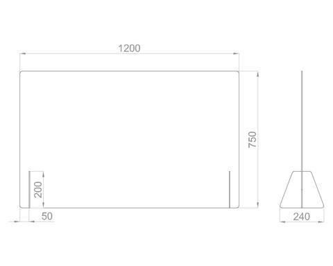 Настольный экран Ш.1200 мм, В.600/750 мм