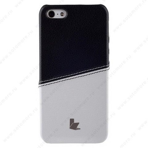 Накладка Jisoncase для iPhone SE/ 5s/ 5C/ 5 двухцветная белая/черная JS-IP5-05H