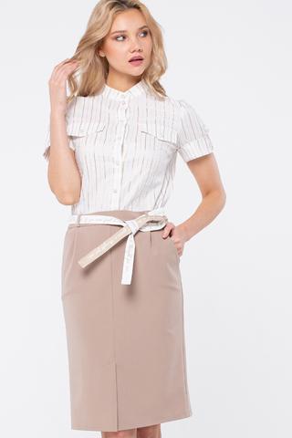 Фото стильная бежевая юбка с карманами и шлицей спереди - Юбка Б145-570 (1)