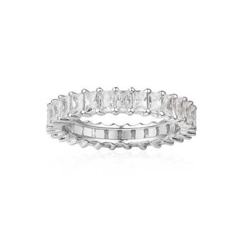 11831- Кольцо-дорожка из серебра с багетными цирконами (ширина 4 мм)