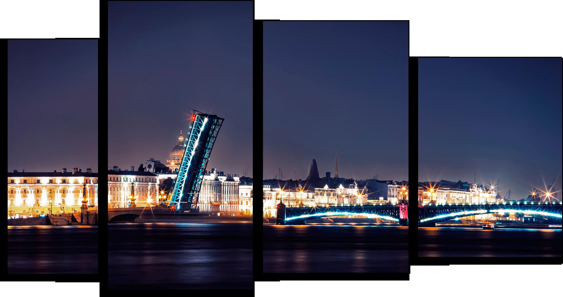 """Города Модульная картина """"Ночной Питер"""" М438.png"""