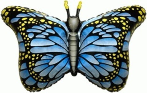 Фольгированный шар Бабочка-монарх синяя