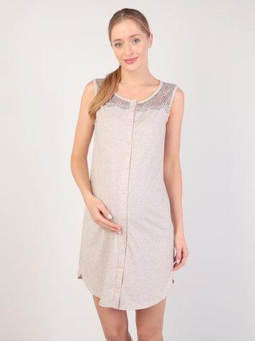 Euromama/Евромама. Сорочка-халат на пуговках для беременных и кормящих, меланж бежевый