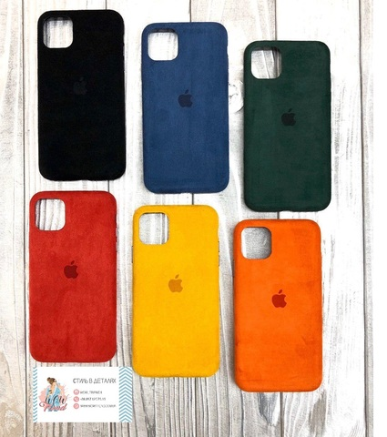 Чехол iPhone 11 Alcantara case full /orange/
