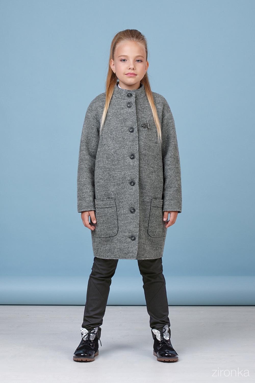 Пальто серое для девочки 50-8001-3