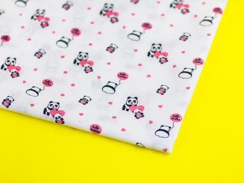 Ткань хлопок, Let's make отрез 30х40 см. Рисунок - розовые панды 310684722