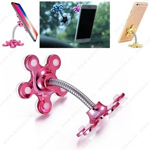 Торговое оборудование - Подставка универсальная для смартфонов на присосках розовый
