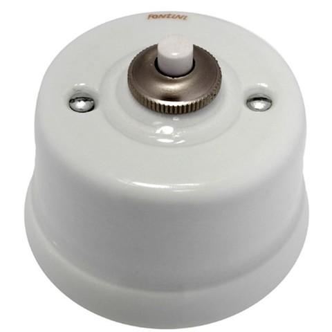 Выключатель/кнопка 10А 250В~/24В. Цвет Белый/коричневый декор. Fontini Garby(Фонтини Гарби). 30312132