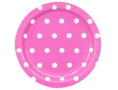 Тарелка Горошек ярко-розовая