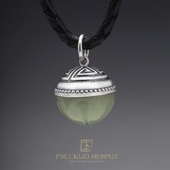 """Кулон """"Пуговка"""".  Буромский нефрит, серебро 925 (6,5г.)."""