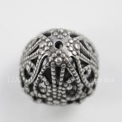 Винтажный элемент - бусина грушевидная филигранная 21 мм (оксид серебра)