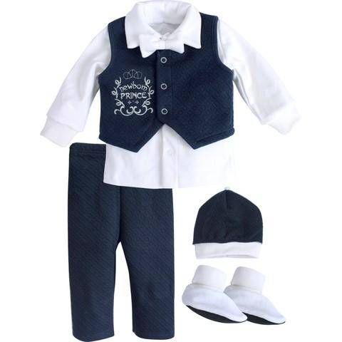 Комплект святковий для хлопчика Newborn Prince белый с синим