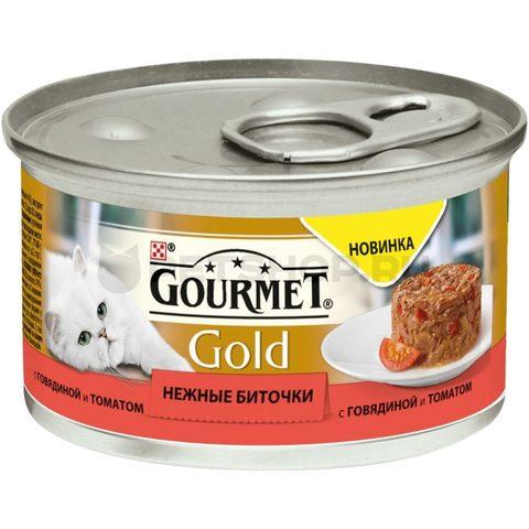 Gourmet Gold нежные биточки с говядиной и томатом для взрослых кошек 85 г