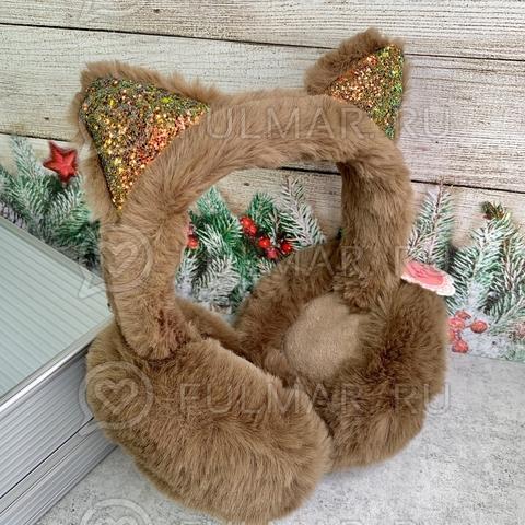 Наушники утеплённые складные для девочки с блёстками Кошечка цвет: коричневый