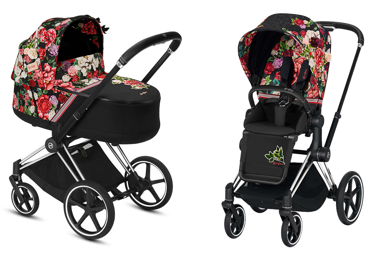Цвета Cybex Priam 2 в 1 Детская коляска Cybex Priam III 2 в 1 FE Spring Blossom Dark шасси Chrome Black priam-iii-2-in-1-spring-blossom-dark-chrome-black.jpg