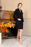 Элитный черный халат с кружевом Valery