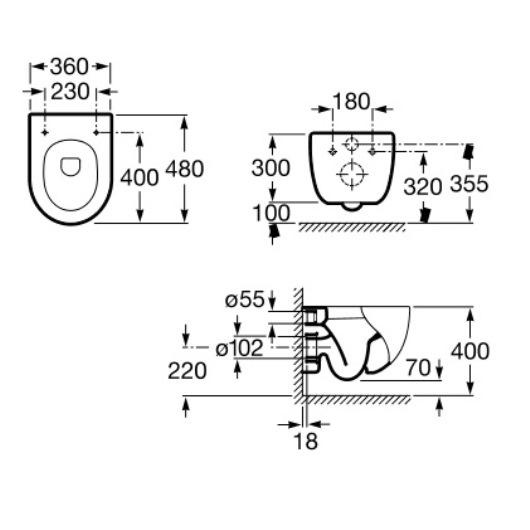 Унитаз подвесной Roca N-MERIDIAN 7346248000 COMPACT