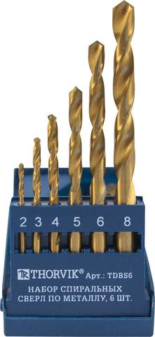 TDBS6 Набор спиральных сверл по металлу HSS TiN в пластиковом кейсе, d2.0-8.0 мм, 6 предметов