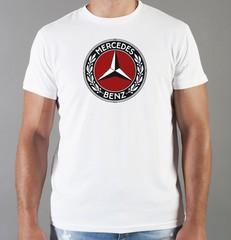 Футболка с принтом Mercedes-Benz (Мерседес-Бенц) белая 01