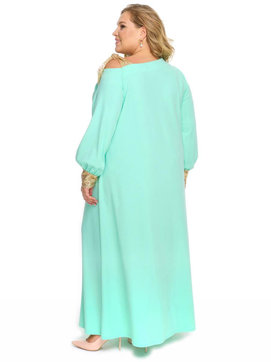 Платье из ментолового крепа с золотистыми пайетками