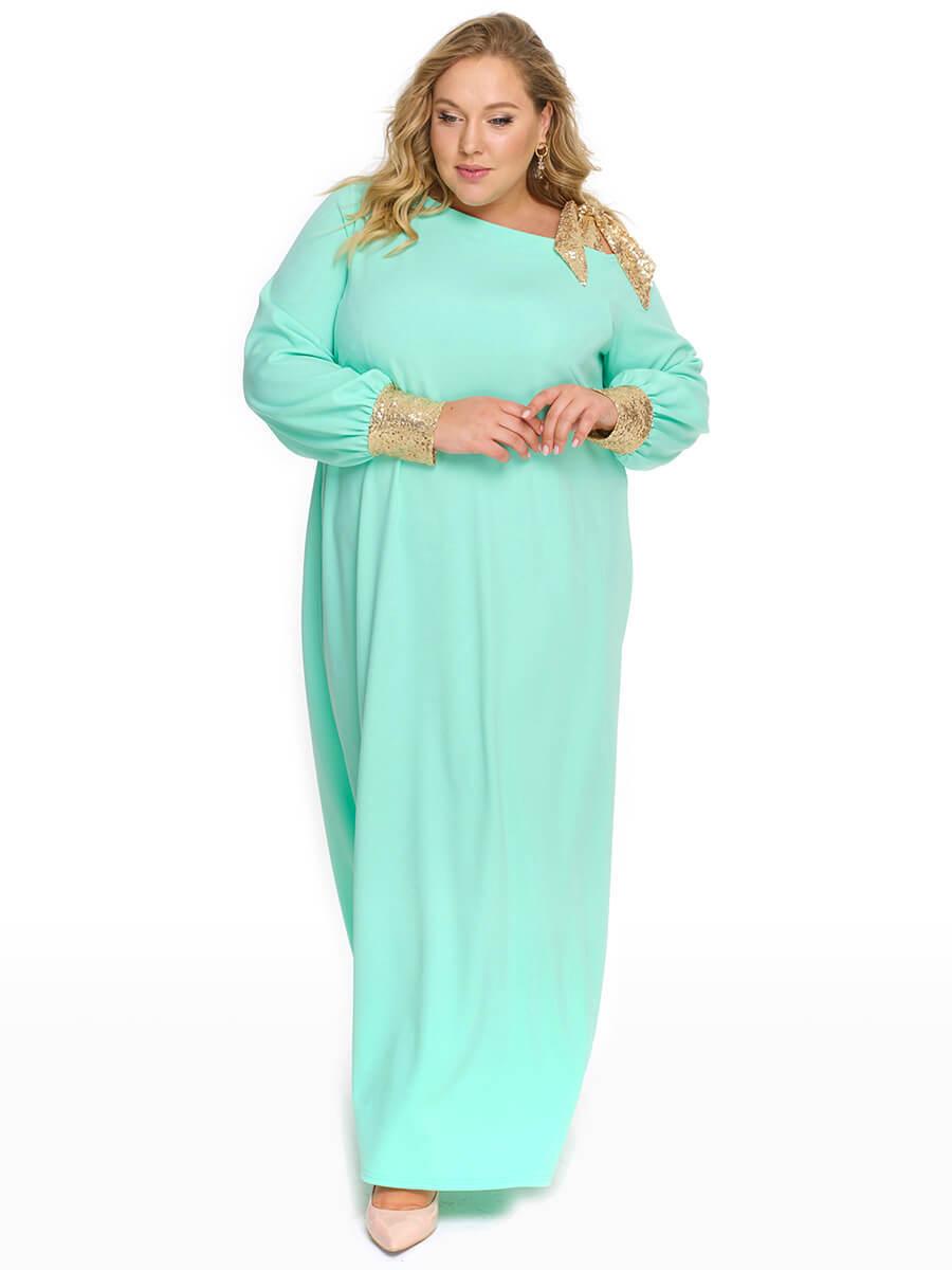 Ментоловое длинное платье для полных