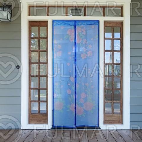 Москитная сетка от комаров на дверь с рисунком Шиповник 90x210 см Синяя