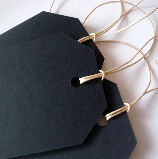 Бирки (теги) черные для письма мелом 6,5х11,5 см