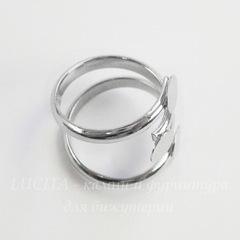Основа для кольца с 3 площадками 6 мм (цвет - платина)