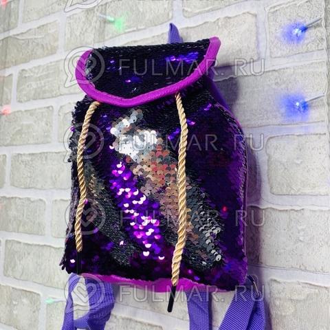 Рюкзак-мешок с пайетками меняющий цвет Фиолетовый-Серебристый Мини