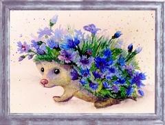 Цветочный еж - мозаика из пайеток, CME005