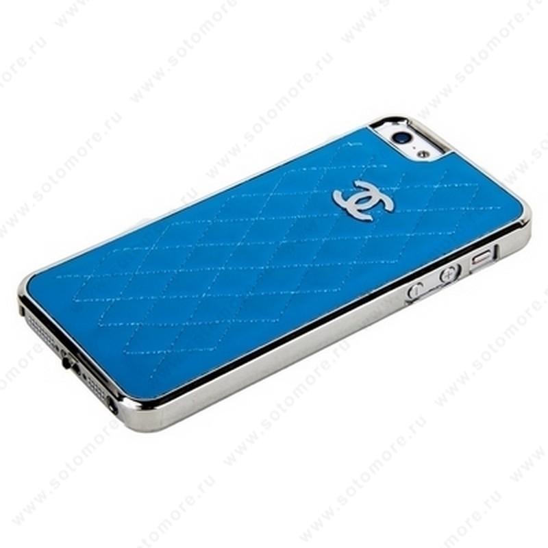 Накладка CHANEL для iPhone SE/ 5s/ 5C/ 5 серебряная+бирюзовая кожа