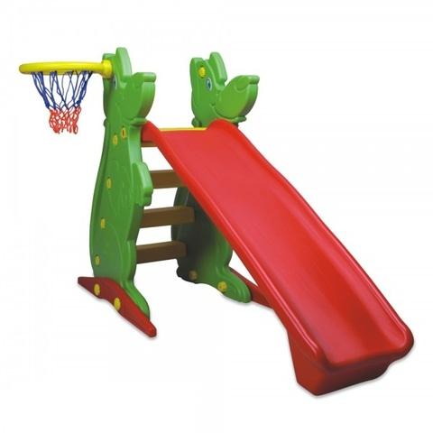 Пластиковая горка с баскетбольным кольцом, 122 см