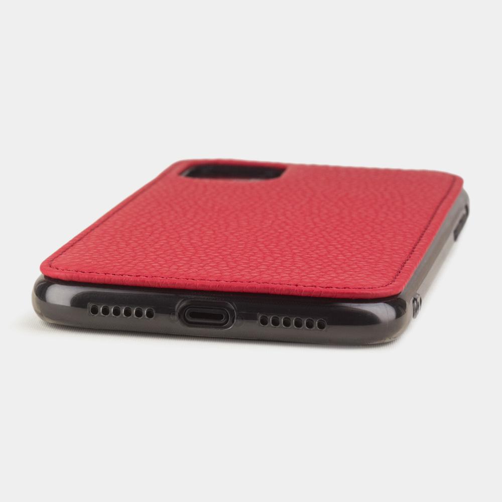 Чехол-накладка для iPhone 11 из натуральной кожи теленка, красного цвета