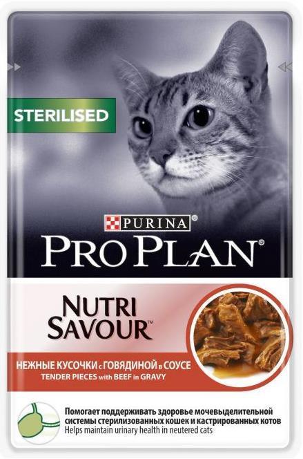 Влажные корма Пауч Purina Pro Plan STERILISED, для стерилизованных кошек, с говядиной стер_гов.jpg